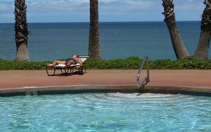 Napping By Kepuhi Beach Pool Molokai Hawaii